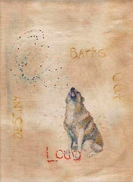 Destiny barks out loud, embroidery on dyed linen