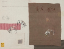 Waiting for a dog's breakfast, embroidery and applique on silk